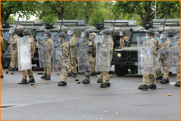 Armadillo Riot Shields in massed British Army Public Order formation